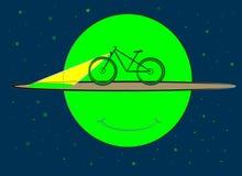 Una bicicletta si muove intorno ad un pianeta dall'anello illustrazione vettoriale