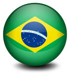 Una bola con la bandera del Brasil Imagen de archivo