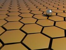Una bola de metal en un modelo del peine de la miel stock de ilustración