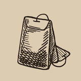 Una bolsita de té de grabado Mañana que se calienta Ejemplo del vector en estilo del bosquejo Foto de archivo libre de regalías