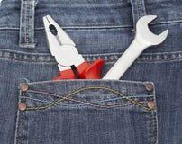 Una borsa degli arnesi di due elementi in blue jeans intasca Immagini Stock Libere da Diritti