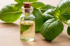 Una botella de aceite esencial de la albahaca con albahaca fresca se va fotos de archivo