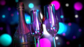 Una botella de Champán o vino con dos vidrios Foto de archivo