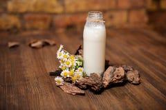 Una botella de leche rústica y un ramo de manzanilla en una tabla de madera Foto de archivo