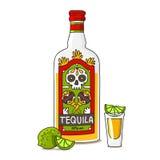 Una botella de tequila con la cal ilustración del vector