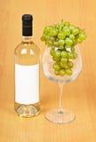 Una botella de vino, de un vidrio grande y de uvas Fotografía de archivo libre de regalías