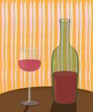 Una botella de vino y de un vidrio en la tabla stock de ilustración