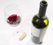 Una botella y una taza de vino Foto de archivo