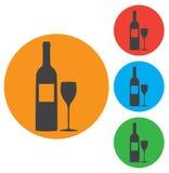 Una bottiglia di vino e di un'icona di vetro di vettore Fotografia Stock Libera da Diritti