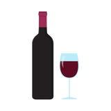 Una bottiglia e un bicchiere di vino Fotografie Stock Libere da Diritti