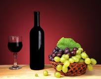 Una bottiglia piena di vino rosso Immagine Stock Libera da Diritti