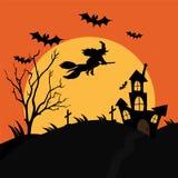 Una bruja del vuelo con un cementerio terrible y una casa siniestra adentro ilustración del vector