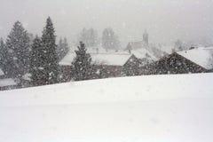 Una bufera di neve violenta in Baviera Fotografie Stock Libere da Diritti