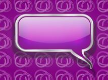 Burbuja púrpura del discurso en fondo retro Foto de archivo