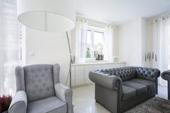 Una butaca cómoda en sala de estar Imagenes de archivo