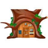 Una cabaña acogedora con el buzón en el bosque debajo de un árbol aislado en el fondo blanco Primer de la historieta del vector libre illustration