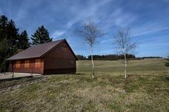 Una cabaña de madera y dos abedules en un prado Fotos de archivo