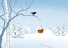 Una cabaña en la nieve Fotos de archivo libres de regalías