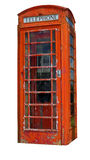 Una cabina de teléfonos sucia (camino de recortes incluido) Imagenes de archivo