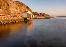 Una cabina di bagno sulla costa ovest di Gothenburg, Svezia, 2018 immagini stock
