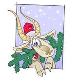 Una cabra borracha con el árbol de navidad stock de ilustración