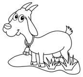 Una cabra de la lechería en un campo para colorear stock de ilustración