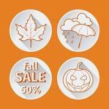 Una caduta arancio di quattro icone piana illustrazione di stock