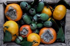 Una caja con los mandarines de un caqui fresco, del feijoa y de la fruta cítrica sobre cierre Foto de archivo libre de regalías