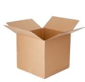 Una caja de cartón vacía abierta Foto de archivo