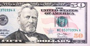 Una caja de los E S billete de dólar cincuenta 50 cercano para arriba de Grant imagen de archivo libre de regalías