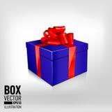 Una caja de regalo azul hermosa con el arco rojo Foto de archivo