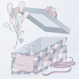 Una caja de regalo de la plantilla con la textura del remiendo, 3d Pares artísticos dibujados mano Día de tarjeta del día de San  stock de ilustración