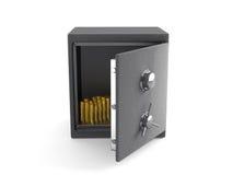 Una caja fuerte abierta con las monedas de oro Fotos de archivo libres de regalías
