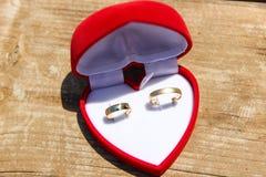 Una caja roja del terciopelo con un par de anillos de bodas del oro Fotografía de archivo libre de regalías
