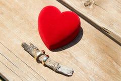 Una caja roja del terciopelo con un par de anillos de bodas del oro Imagen de archivo libre de regalías
