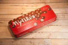 Una caja vieja de chocolate Fotografía de archivo