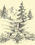 Una cala en las montañas ilustración del vector