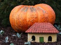Una calabaza gigante y una casa miniatura Fotografía de archivo libre de regalías