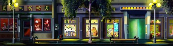 Una calle de la pequeña ciudad - 3 en la noche Opinión del panorama libre illustration