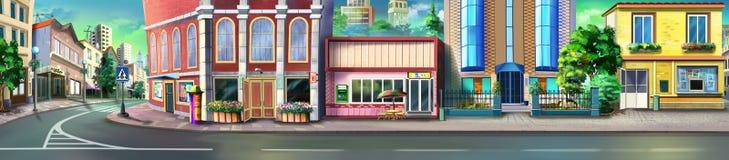 Una calle de la pequeña ciudad Opinión del panorama ilustración del vector
