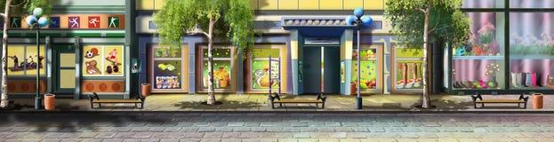 Una calle de la pequeña ciudad - 3 Opinión del panorama stock de ilustración