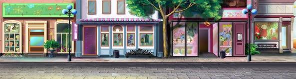 Una calle de la pequeña ciudad - 2 Opinión del panorama ilustración del vector
