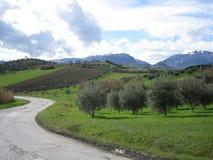 Una calle hacia las montañas gemelas Imagen de archivo