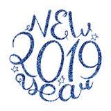 Una calligrafia di 2019 nuovi anni illustrazione vettoriale