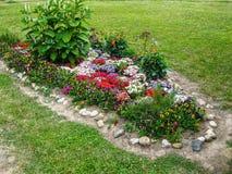 Una cama de flor en el jardín Foto de archivo libre de regalías