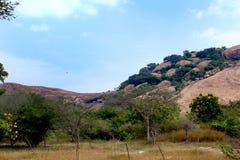Una cama formó vista de la colina hermosa de la roca del complejo sittanavasal del templo de la cueva imagen de archivo