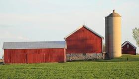 Una Camera dell'azienda agricola e del granaio con il campo verde Fotografia Stock Libera da Diritti