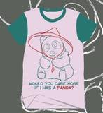 Una camicia sveglia unica di immagine del panda del pastello di vecchio stile graffia fotografie stock