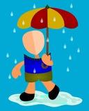 Una caminata en la lluvia ilustración del vector