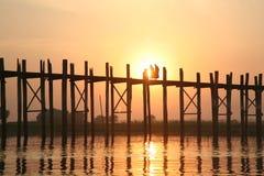 Una camminata delle due rane pescarici sul ponticello di legno Fotografie Stock Libere da Diritti